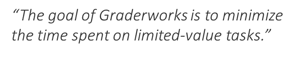 The goal of Graderworks is to limit time on non-value added taks
